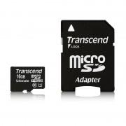 Micro SD Card, 16GB, Transcend MICRO, UHS-I Premium, 1xAdapter, Class10 (TS16GUSDHC10U1)