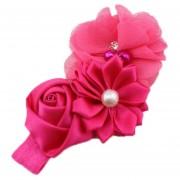ELENXS del pelo del bebé niña de las flores Banda Perla Headwear para 3-36 Meses elástico magnífico suave práctica recién nacido Rose Red