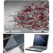 Finearts Laptop Skin 15.6 Inch With Key Guard & Screen Protector - Grey Wires Red Spot
