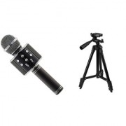 WS 858 Karokke Microphone with in built speaker and 3120 Camera Tripod DFH_421
