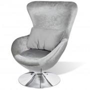 vidaXL Armchair with Egg Shape Silver
