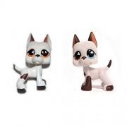 "DEEJOE Set of 2 Puppy Tear Drop & Blue Eyes Brown White Dog Great Dane Lps Action Figure 2"""
