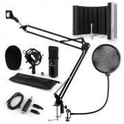 Auna CM001B Set de micrófono V5 Micrófono condensador Adaptador USB Brazo de micrófono Protección anti pop Escudo (60002028-V5KO)
