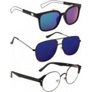 NuVew Round, Wayfarer, Aviator Sunglasses(Blue, Clear, Blue, Green)