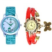 Lite Green Peackock Fether Art Design With Red Butterfly SCK Exclusive Wrist Watch For Women Girl