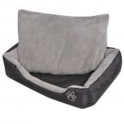 vidaXL Кучешко легло с подплатена възглавница, размер XXL, черно