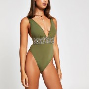 River Island Womens Khaki embellished plunge swimsuit (12)