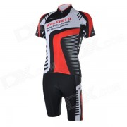 WOLFBIKE BC410-M Hombre ciclo Jersey + Pants Suit - Negro + Rojo (M)
