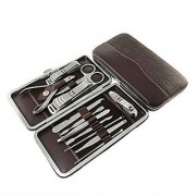Manicure Pedicure Set Kit with 12 Tools (Brown)