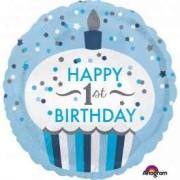 Balon folie prajitura 1st Birthday albastru