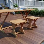 vidaXL Taburete de grădină, 2 buc., 42 x 35 x 45 cm, lemn masiv de tec
