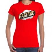 Bellatio Decorations Bastard fun tekst t-shirt voor dames rood in 3D effect