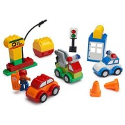 PlayBuild Play Build Car Creator Building Blocks Set - 52 Pieces - Includes Mechanic Minifigure Garage Accessories & Base Parts to Create a Police Car Oil Rig Tow Truck & More - Compatible with DUPLO
