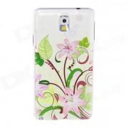 Kinston Flores plomo patron de mariposa Plastico caso duro para Samsung Galaxy Nota 3 - Rosa + Verde