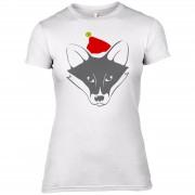 The Christmas Collection Camiseta Zorro Papá Noel - Mujer - Blanco - UK 12