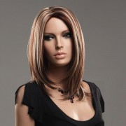 NAWOMI 100% Kanekalon Hair Wig Highlights Color Synthetic Parted Middle Medium Long Straight
