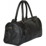 "CRAFAT 16""Leather Black Softsided Unisex Travel Duffel Bag(Black)"
