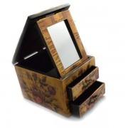 Cutie bijuterii cu spatiu depozitare sub oglinda, 2 sertare si model floral