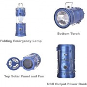 Solar Rechargeable Emergency Light Lantern + Bottom LED Torch + Top Fan Travel Camping Lantern - Assorted Colors