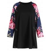 rosegal Plus Size Raglan Sleeve Floral Print Tee