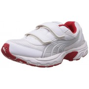 Puma Unisex Atom V Jr DP White, Puma Silver and Red Indian Sports Shoes - 2C UK
