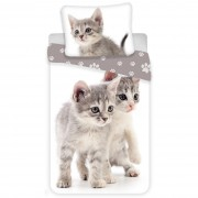 Lenjerie de pat Jerry Fabrics Kitten grey,de copii, din bumbac, 140 x 200 cm, 70 x 90 cm