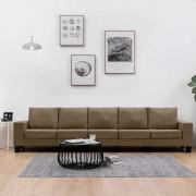 vidaXL 5-местен диван, кафяв, текстил