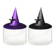 Purple Black Womens Witch Hat Spire With Veil Halloween Cosplay