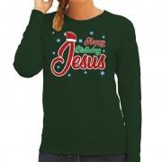 Bellatio Decorations Foute kerstborrel trui / kersttrui Happy Birthday Jesus / Jezus groen voor dames L (40) - kerst truien