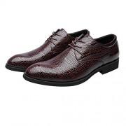 XIANGBAO Zapatos de Cuero de PU de los Hombres de Moda Textura de Piel de cocodrilo Parte Superior con Cordones Negocio Transpirable Bajo Forrado Oxfords (Color : Marrón, tamaño : 7.5MUS)