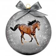 Bellatio Decorations 1x Kunststof dieren kerstballen met paard 8 cm