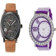 Curren Brown Black Dial and Round Dial Buterfly Purple Women Watches for Men and Women