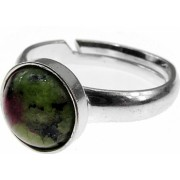 Inel argint reglabil cu rubin zoisit natural 8 MM GlamBazaar Reglabila cu Rubin zoisit Verde tip inel reglabil de argint 925 cu