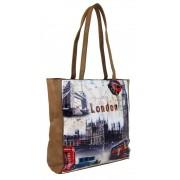 Dámská kabelka na rameno s motivem Londýna 60694 přírodní hnědá