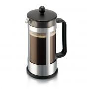 Bodum KENYA Cafetière à piston, 8 tasses, 1.0 l, en plastique et acier inox Noir