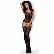 Obsessive F211 – pančuchová súprava s kvetinkovým zdobením (čierna)