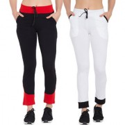 Cliths Women's Cotton lower for women| Slim Fit Black Red White Black Solid Track Pants for Women/Girls-Pack Of 2