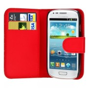 Samsung Galaxy S3 Mini I8190/ I8200 Ve: Etui Portefeuille Livre Housse Coque Pochette Cuir Pu Rouge