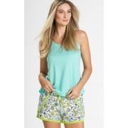 Pijama Feminino Adulto Mixte Meia Malha Regata Anis e Shorts Estampado