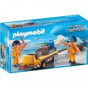 Playmobil city action veicolo trasporto bagagli con addetti pista