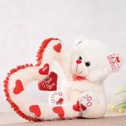 Grabadeal Valentine Teddy Bear holding big heart (Cream) - 30 cm