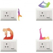 100yellow Yoga theme printed PVC Vinyl switch board sticker for Light Switches- Set of 4