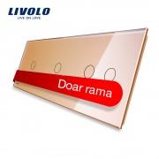 Panou intrerupator simplu+simplu+dublu cu touch LIVOLO din sticla, auriu