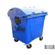 Külső hulladéktároló, Gömbölyű fedelű műanyag konténer - 1100 L kék színben HUL-0014-1
