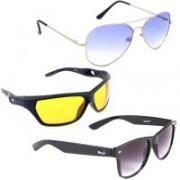 Elligator Aviator, Sports, Wayfarer Sunglasses(Blue, Black, Yellow)