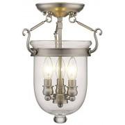 Livex Lighting 5061-91 Jefferson 3 Light Brushed Nickel Bell Jar Semi Flush with Clear Glass