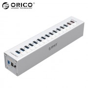 Orico 13 Port Aluminum USB 3.0 HUB,2 Port USB Charging with 12V5A Power Adapter and LED Indicator - Sliver(A3H13P2)