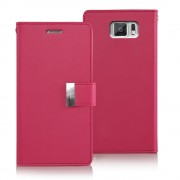 Korean Mercury Rich Diary Double Wallet Case for Samsung Galaxy S6 - Hot Pink