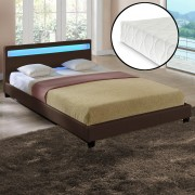 """Corium® Čalouněná postel """"Paris"""" s matrací HTB-1061 140x200 cm hnědá"""