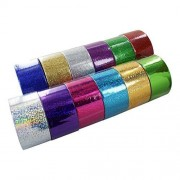 Bazic 1.88 X 3 Yard Holographic & Glitter Duct Tape, Assorted Colors, Set of 12
